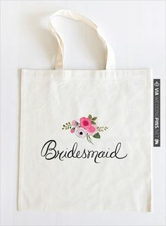 hand painted wedding party tote bag for bride, moh, matron of honor, bridesmaid and flower girl. (:   CHECK OUT MORE IDEAS AT WEDDINGPINS.NET   #weddings #weddinggear #weddingshopping #shopping
