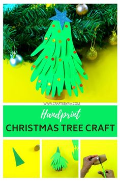 Handprint Christmas Tree, Paper Christmas Ornaments, Christmas Crafts For Kids, Diy Crafts For Kids, Easy Crafts, Christmas Diy, Keepsake Crafts, Creative Arts And Crafts, Paper Roll Crafts
