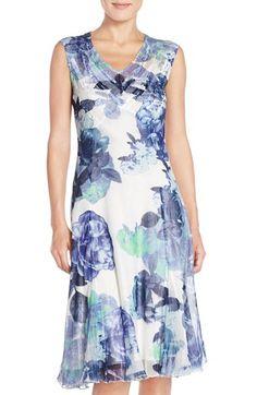 Komarov Sleeveless Floral Chiffon A-Line Dress available at #Nordstrom