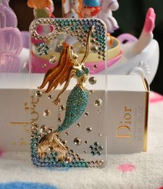 Handmade Crystal and Blue Mermaid cell phone case for iPhone 4 and iphone 4s cover