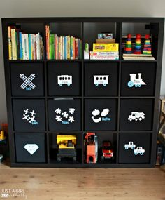 Taming the Clutter: Organized Toy Bins - Just a Girl and Her Blog Terrific way to label the toy bins so non-readers still know where to put stuff!