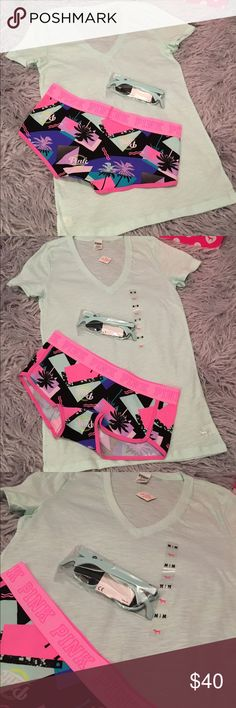 VS PINK V-Neck Tee, Sunglasses & Logo Boyshort  Victoria's Secret PINK V-Neck Tee, New with tags, size medium, tee is tagged as sleepwear but it's way too cute to just sleep in.  And, 1 Pair of VS PINK Bottle Opener Sunglasses, new in package.  And, 1 pair of VS PINK Logo Lowrise Boyshort Panty, brand new with tags, size medium.  See pictures.   No trades. No holds. All offers (lowest ?'s) via make offer button only please (reasonable offers). Thanks for looking and Happy Poshing! Please…