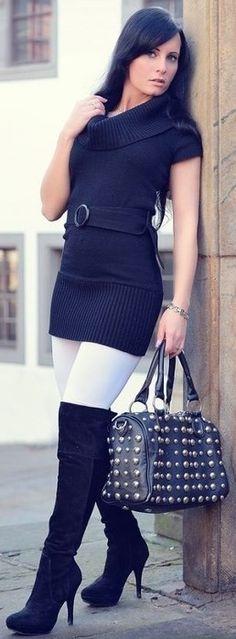 Sweater dress leggings boots style ♥✤ | Keep the Glamour | BeStayBeautiful