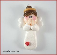 SALE Polymer Clay Brunette Angel Charm Bead by michellesclaybeads