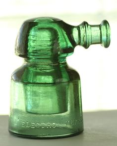 """French """"Noser"""" Glass Insulator, Green CD 667 L'Electro Verre, Industrial Home Decor, emeralds green glass rare France french collectible"""