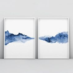 Abstract, liquid, and dissolving forms harmonized in minimalist fashion form a horizontal line on this 2 piece poster set. Watercolor technique supports different shades of blue color, leaving the impression of sensitivity and subtlety. Blue is the color Blue Abstract, Abstract Watercolor, Abstract Paintings, Water Color Abstract, Abstract Landscape, Oil Paintings, Abstract Posters, Abstract Nature, Indian Paintings