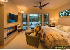 Swaback Partners have designed the Martis Camp House, located near North Lake Tahoe, California. Classy Bedroom, House, Living Spaces, Modern Master Bedroom, Sleek Fireplace, Camp House, Interior Design, Warm Living, Interior Design Bedroom