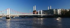 A shot of Chelsea Bridge as seen from Chelsea Embankment.  Battersea  Power Station also features.