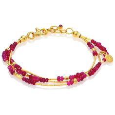 GURHAN Delicate Rain Ruby & 24K Yellow Gold Triple-Strand Bracelet (€5.025) ❤ liked on Polyvore featuring jewelry, bracelets, apparel & accessories, 24k gold jewellery, adjustable bangle, gurhan jewelry, beaded jewelry and gold bangles