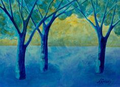 Blue Forest Surreal Fantasy Landscape Print Blue by annarobertsart