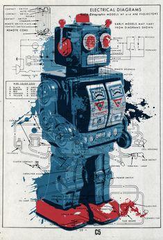 Vintage Robots, Retro Robot, Art Vintage, Retro Toys, Vintage Toys, Robot Tattoo, Pop Art Poster, Toy Rocket, Futuristic Robot