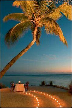 Palmer har vi ikke i Danmark, men vi har smukke strande, hvor din kæreste og dig kan nyde en dejlig middag