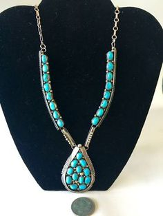 Vintage Navajo Sterling Silver Turquoise Teardrop On Sale By Ella Cowboy 70 grams t.wt. Was $675 Sale Price $338 Sale valid for a limited time. Tribal Art and Accessories Dealer #13