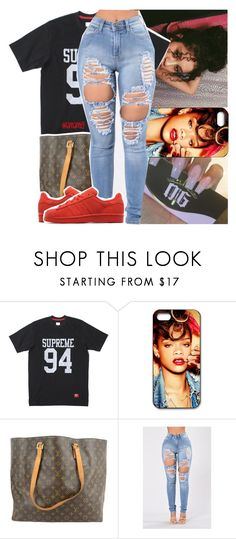 """""""im back"""" by lamamig ❤ liked on Polyvore featuring Louis Vuitton and adidas Originals"""