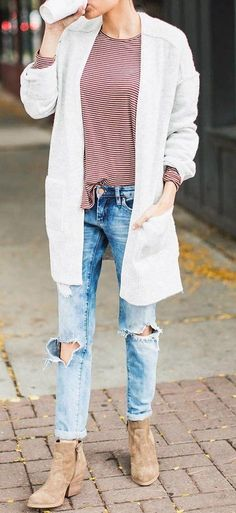 #fall #outfits ·  White Trench // Striped Top // Destroyed Jeans // Suede Ankle Boots