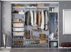 Elfa Classic biały, Utility Home biały : ELFA - galeria - fot: 1 Elfa Closet, Hallway Closet, Closet Shelves, Master Closet, Closet Storage, Hall Wardrobe, Diy Wardrobe, Built In Wardrobe, Elfa Shelving