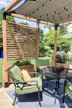 Must See DIY Patio Makeover with Pergola - ToolBox Divas Learn how turn a delapadated patio into an inviting space with a modern pergola and other inexpensive patio ideas Diy Pergola, Pergola Curtains, Small Pergola, Pergola Attached To House, Pergola With Roof, Cheap Pergola, Wooden Pergola, Outdoor Pergola, Pergola Shade