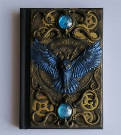 Buy Now Blue Owl. polymer clay journal, 196 blank pages, steampunk by ClaymanPL USDIt's a unique notebook with handmade polymer clay cover. Steampunk Book, Steampunk Theme, Steampunk Crafts, Gothic Steampunk, Steampunk Necklace, Steampunk Clothing, Victorian Gothic, Steampunk Fashion, Gothic Lolita