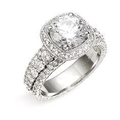 Jack Kelége 'romance' Cushion Set Diamond Semi Mount Ring ($7,700) ❤ liked on Polyvore