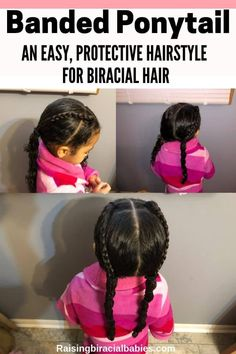 Mixed Kids Hairstyle: Banded Ponytail For Biracial Curly Hair A tutorial for a banded ponytail for biracial curly hair. It's a pretty mixed kids hairstyle that keeps their hair protected and healthy! Mixed Kids Hairstyles, Kids Hairstyles Boys, Baby Girl Hairstyles, Easy Hairstyles, Elegant Hairstyles, Protective Hairstyles, Wedding Hairstyles, Toddler Curly Hair, Curly Girl