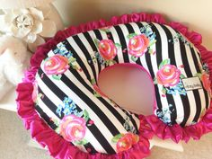 Black and White Stripe Floral and Hot Pink Nursing Pillow Cover for Baby (Boppy Cover) by RitzyBabyOriginal