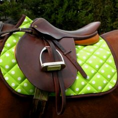 Green PolkaDot Saddle Pad!! - for pony and little girl casual would be cute