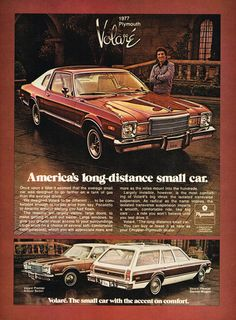 1977 Plymouth Volare' Car Print Ad Art Affiliate Chrysler Plymouth