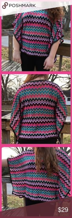 🆕List! Bright Chevron Butterfly Sweater! EUC! 100% rayon. Measures 24 inches in back unstretched but this garment is heavy enough that it stretches when hanging on the body - then it measures 26 inches. Model is a size 8/10 medium 64.75 inches tall. INC International Concepts Sweaters Shrugs & Ponchos