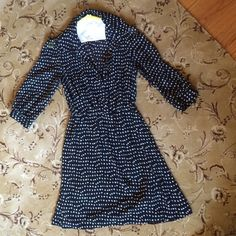 Forever 21 black and white polka dot dress Worn once and dry cleaned. Perfect condition. Cinched waist and button up torso. 3/4 sleeve. Black lining underneath. Ships immediately Forever 21 Dresses