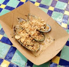 Gratinated Green Lip Mussels with Garlic and Herbs from the New Zealand Booth