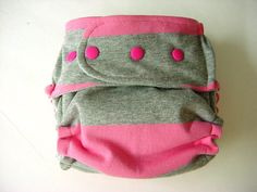 Cloth Diaper AI2 All In Two Stripes Pink Grey Knit Outer One Size. $24.99, via Etsy.