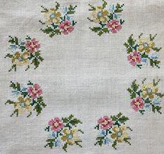 Vintage Hand Embroidery Roses / Ecru Linen by estatesalegems Cross Stitch Pillow, Cross Stitch Alphabet, Cross Stitch Borders, Cross Stitch Rose, Cross Stitch Flowers, Cross Stitch Designs, Cross Stitch Embroidery, Cross Stitch Patterns, Diy Flowers