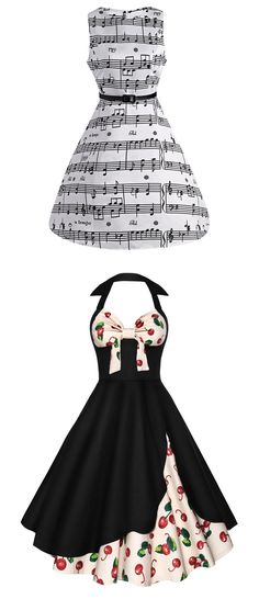 Start from $4.69 Vintage dress  Music Note Print Swing Party Dress