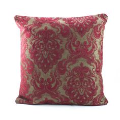 ON INTRODUCTORY SALE 40% off -Luxurious Chenille Pillow cover featuring velvety style texture.Gorgeous Red Damask Chenille on a Dark Taupe/ Wood brown