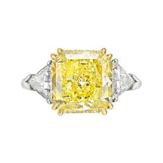 Betteridge Collection 6.30 Carat Fancy Intense Yellow Diamond Ring