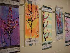 First grade cherry blossom scrolls Classroom Art Projects, Art Classroom, Classroom Ideas, Cherry Blossom Art, Blossom Trees, Chinese Blossom, 2nd Grade Art, Grade 1, New Year Art