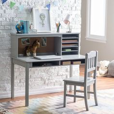 Guidecraft Media Desk & Chair Set - Gray | from hayneedle.com