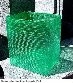 Basket made by weaving plastic soda bottles