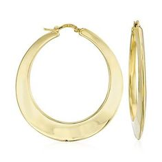"A big find from Italy: mega, must-have hoop earrings in a streamlined 14kt gold design. Glossy hoops hang to a length of 1 3/4"".  Snap-bar, 14kt yellow gold earrings. Free shipping & easy 30-day returns. Fabulous jewelry. Great prices. Since 1952."