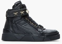 69ab62be8a2 Givenchy Black Leather Star Embellished Hightop Sneakers - Lyst High Top  Sneakers