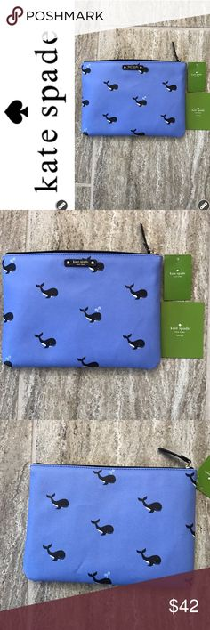 """NWT Kate Spade Whale Bag NWT Kate Spade Whale bag is versatile. This blue vinyl bag can be used as a clutch or Pouch. It has a Whale pattern throughout. Zip top closure with leather pull and  black & gold Kate Spade license plate on front. Some creasing on back which fades out when bag is not empty. Interior features blue KSNY logo material lining. Interior is open. This is a fun bag!! Smoke Free Home. 10""""L x 7"""" W. kate spade Bags"""