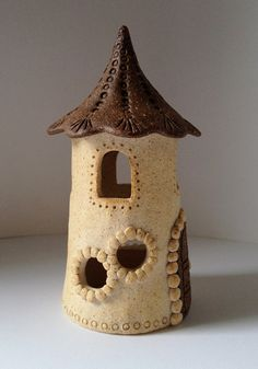 Ceramic Fairy House Warm White and Red by PaperCutsStudios
