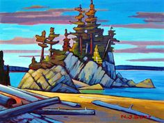 West Coast Morning, by Nicholas Bott Canadian Painters, Canadian Artists, Abstract Landscape, Landscape Paintings, Landscapes, Mountain Art, Paintings I Love, Art Paintings, Portraits