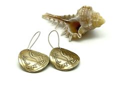 shaped coins earrings ,gold plated hooks, Double sided, harp musical instrument taken from ancient coins from the time of Simon Bar Kokhba