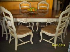 Leather Sofa Thomasville French Dining Room Set Table and chairs China Cabinet