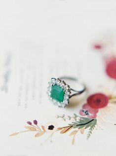 Engagement Rings 2017/ 2018   Princess-cut emerald stone: Colorful Garden Soiree   www.stylemepretty