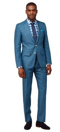 Think beyond the beach. This finely crafted linen suit with teal micro check has a casual elegance and lightweight breathability that works as hard as it plays. Teal Suit, Green Suit, Mens Dress Outfits, Men Dress, Mens Suits Online, Business Professional Attire, Made To Measure Suits, Suit Pattern, Checked Suit