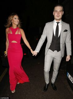 Holding hands: TOWIE's Ferne McCann wows in pink as she makes her way to Sam Faiers' birthday party along with her boyfriend Charlie Sims