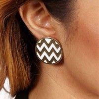 White Chevron Stripe Button Earrings