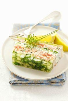 Quark terrine with salmon, cucumber and herbs